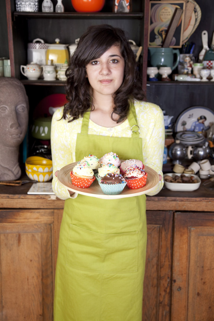 Molly with cupcakes